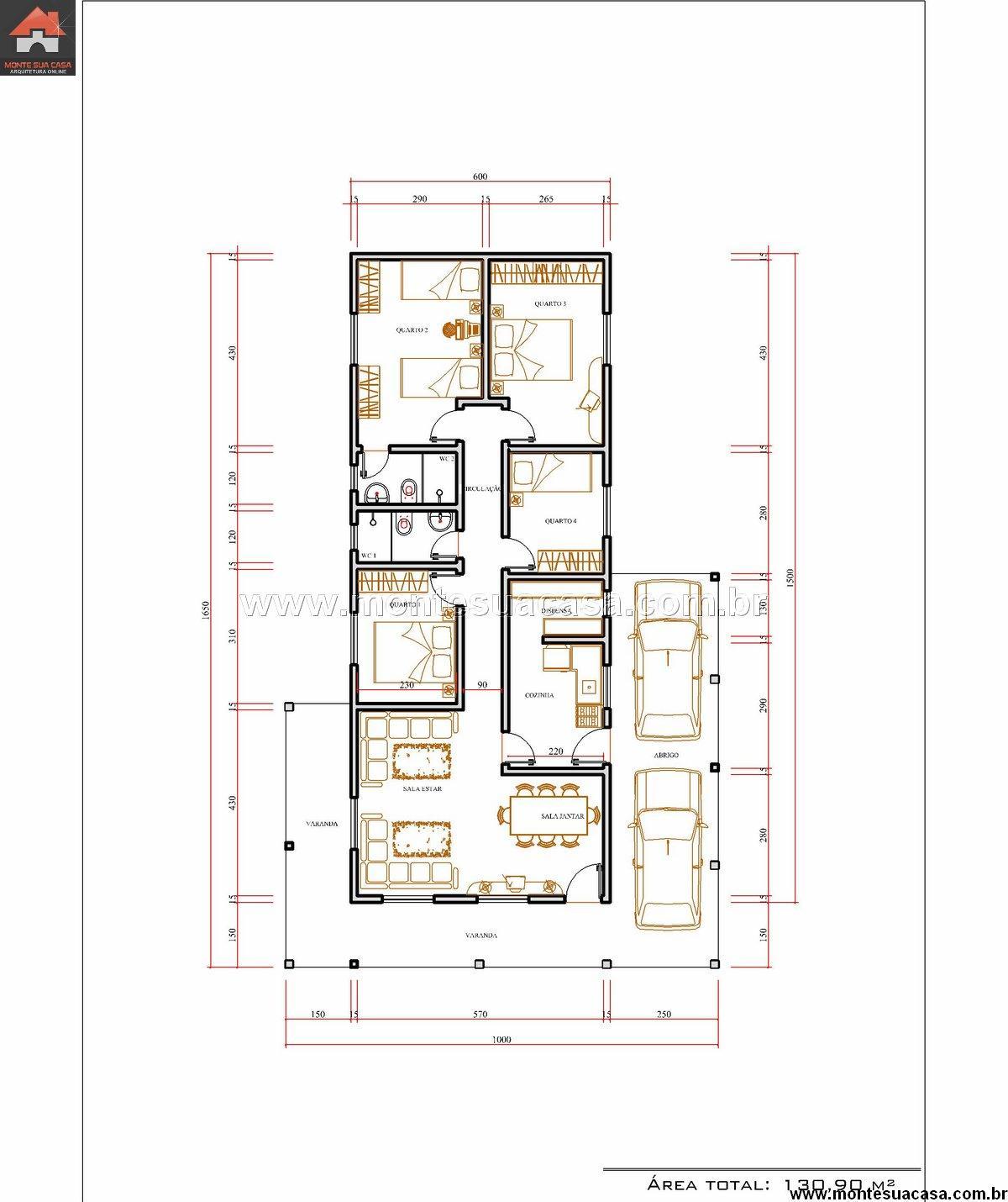Casa 4 Quartos – 130.9m²