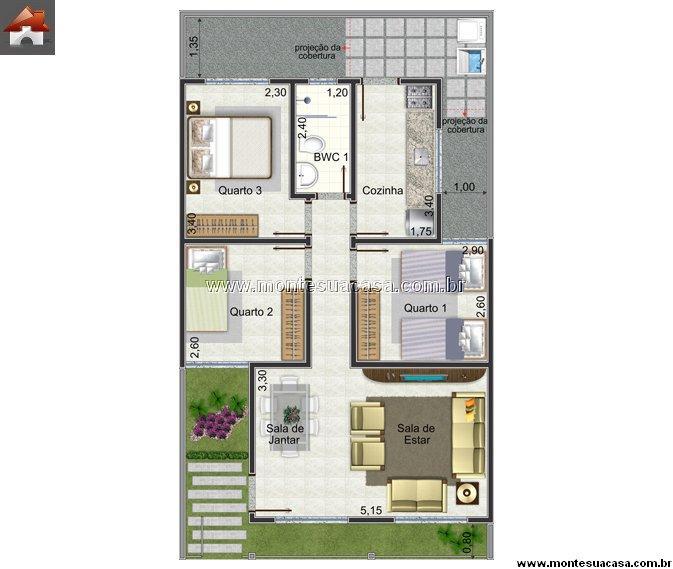 Casa 3 Quartos - 60.22m²