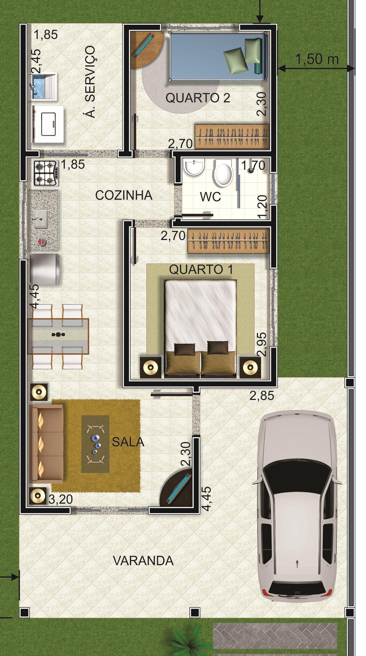 Casa 2 Quartos - 64.47m²