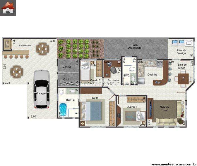 Casa 2 Quartos - 79.2m²