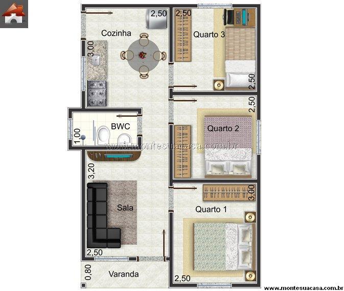 Casa 3 Quartos - 46.87m²