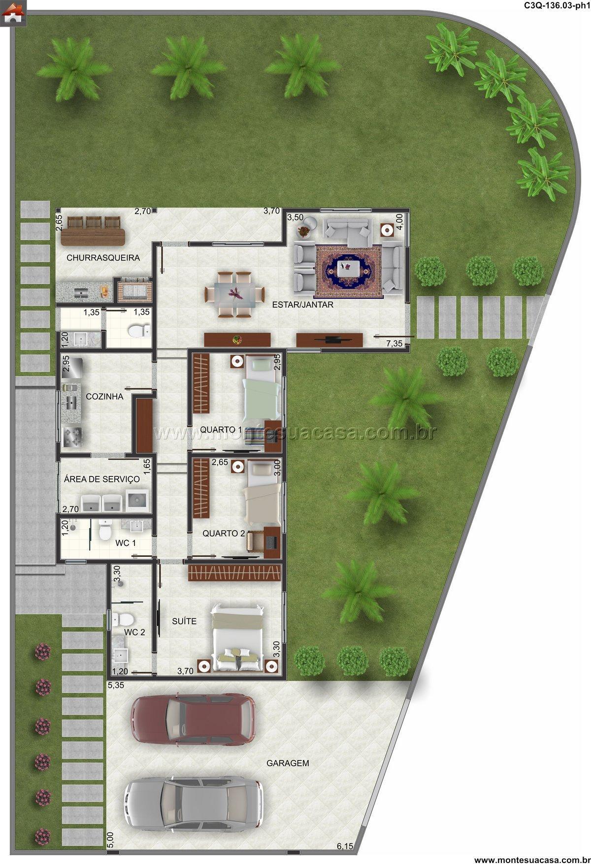 Casa 2 Quartos - 136.03m²