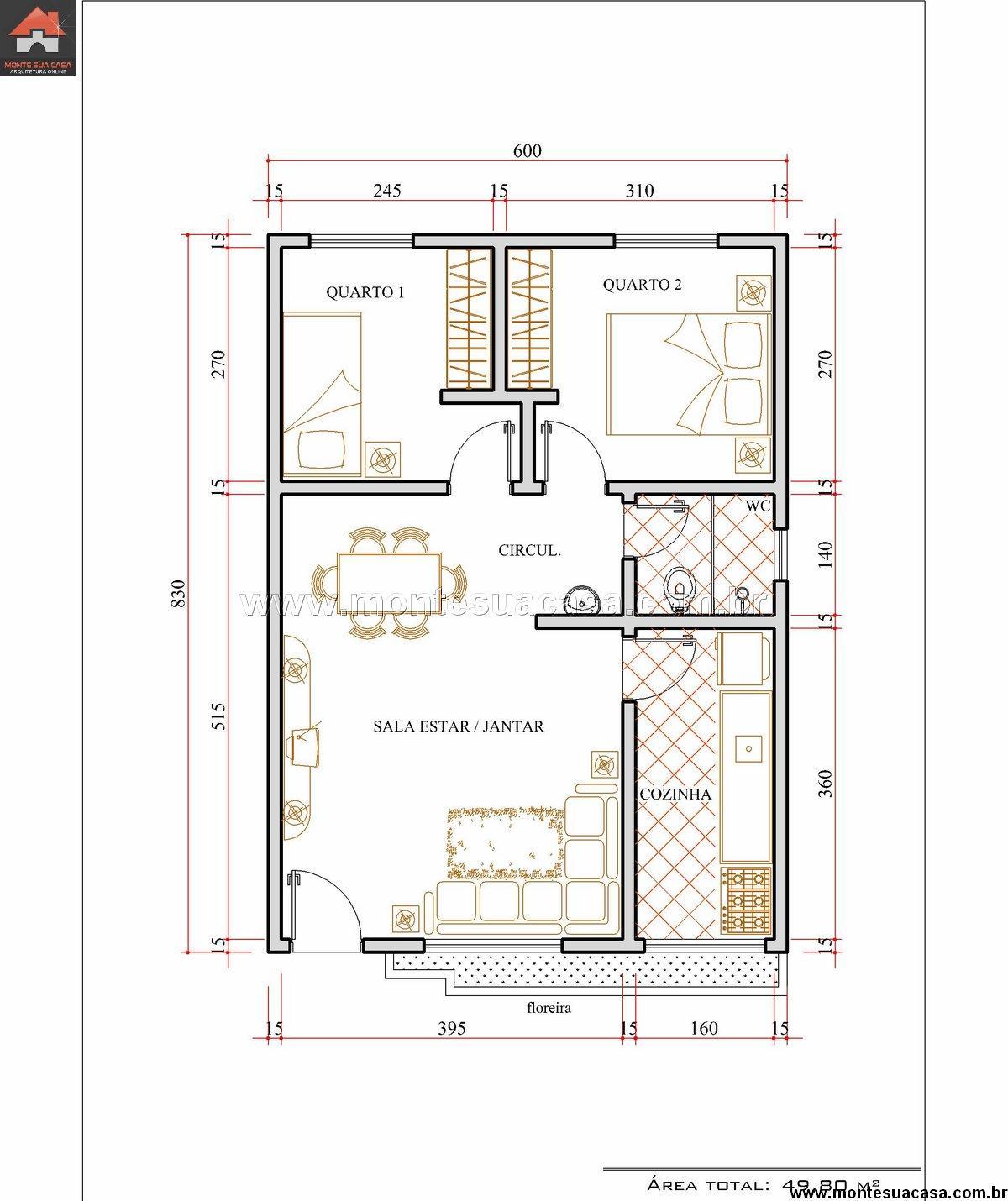 Casa 2 Quartos - 49.8m²