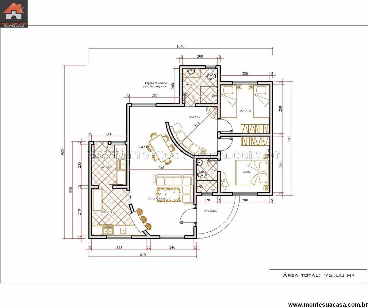 Casa 2 Quartos - 73.04m²