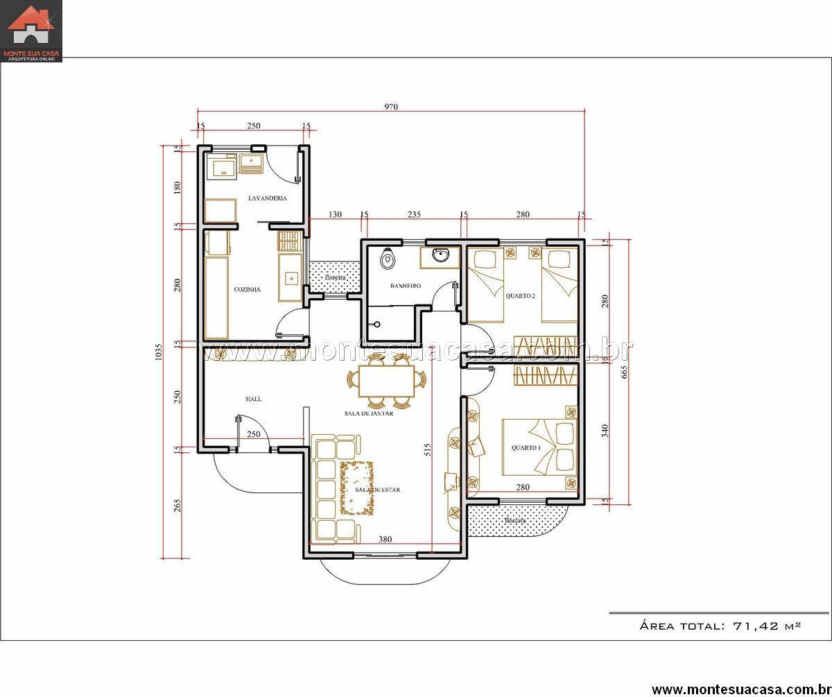 Casa 2 Quartos - 71.42m²
