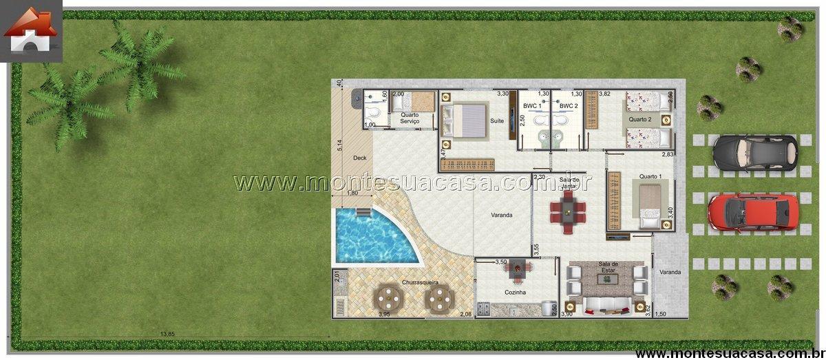 Casa 3 Quartos - 89.55m²