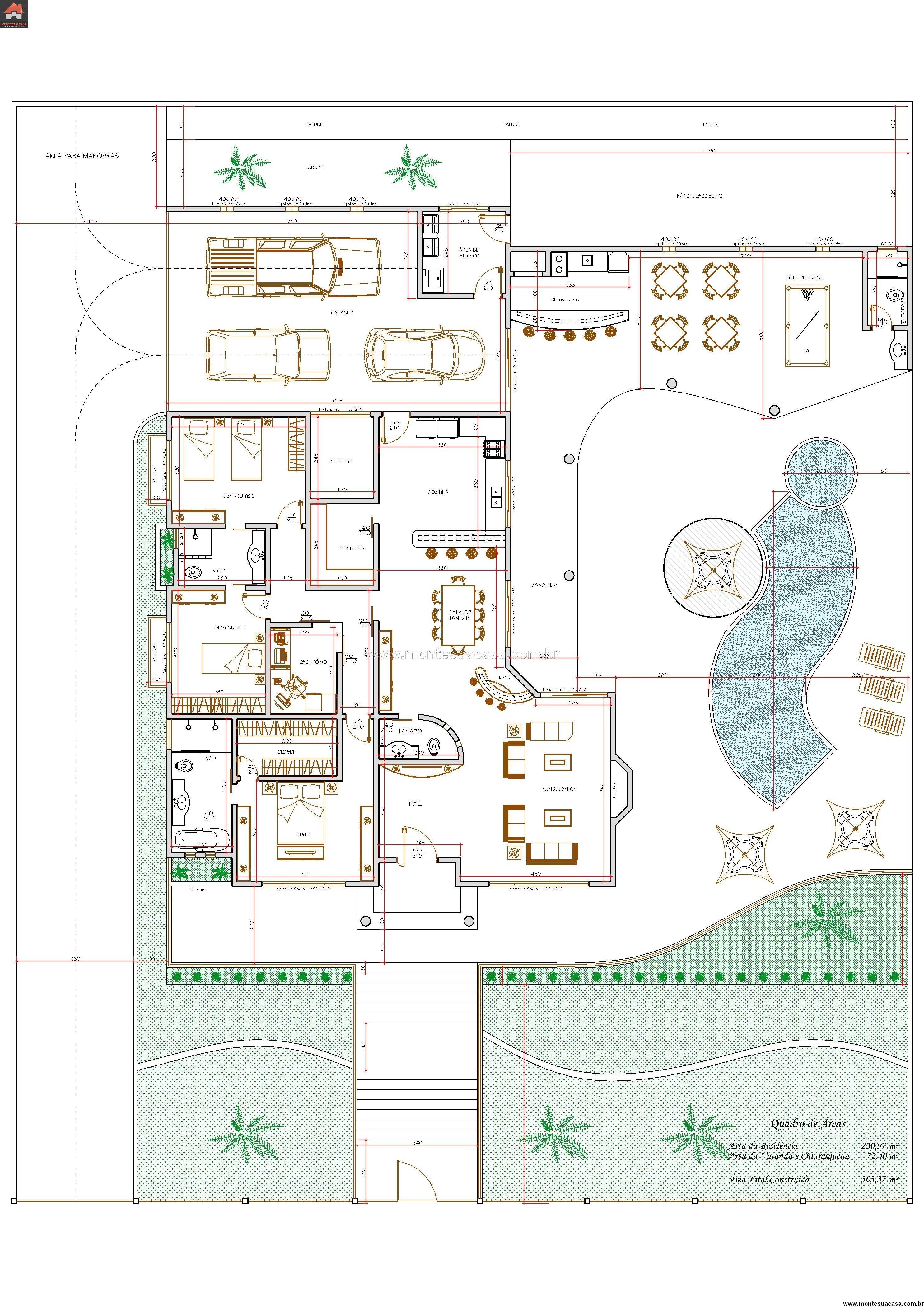Casa 2 Quartos - 303.37m²