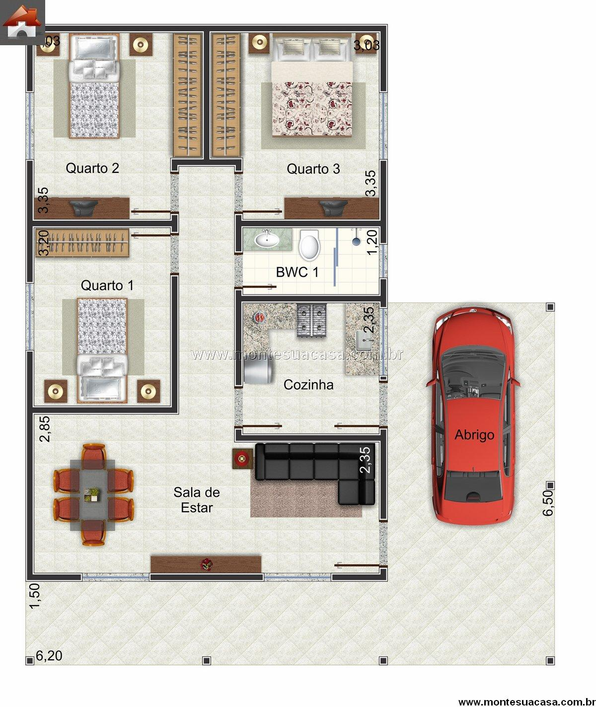Casa 3 Quartos - 94.25m²