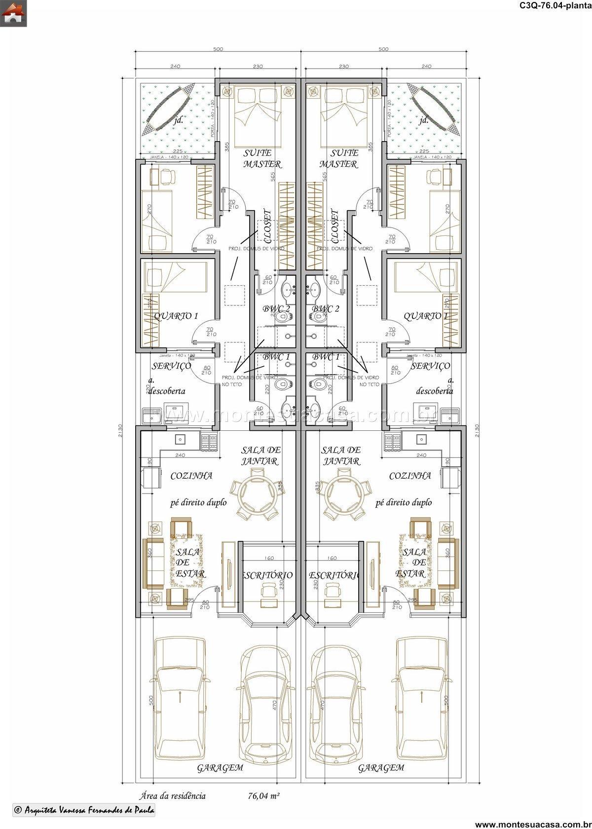 Casa 2 Quartos - 76.04m²
