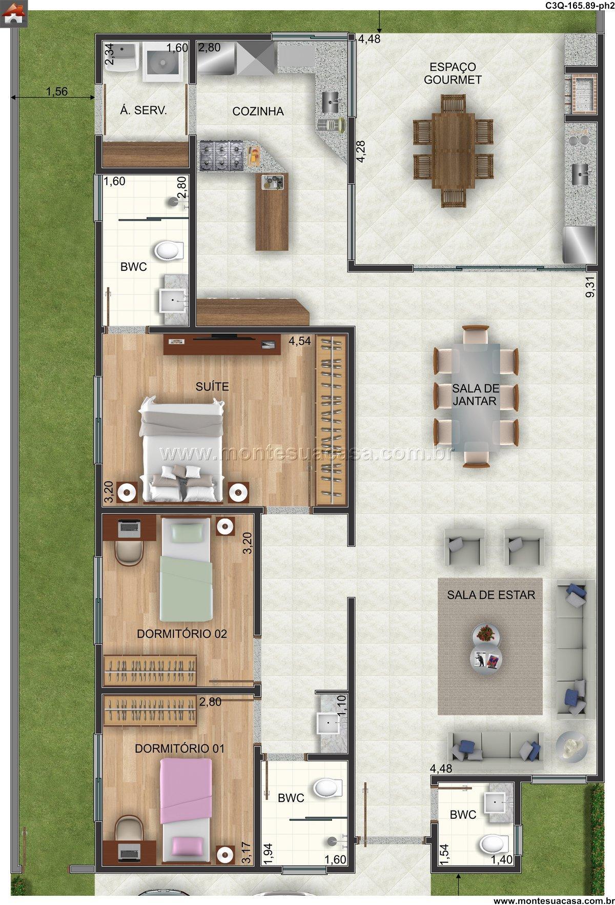 Casa 3 Quartos  –  165.89m²