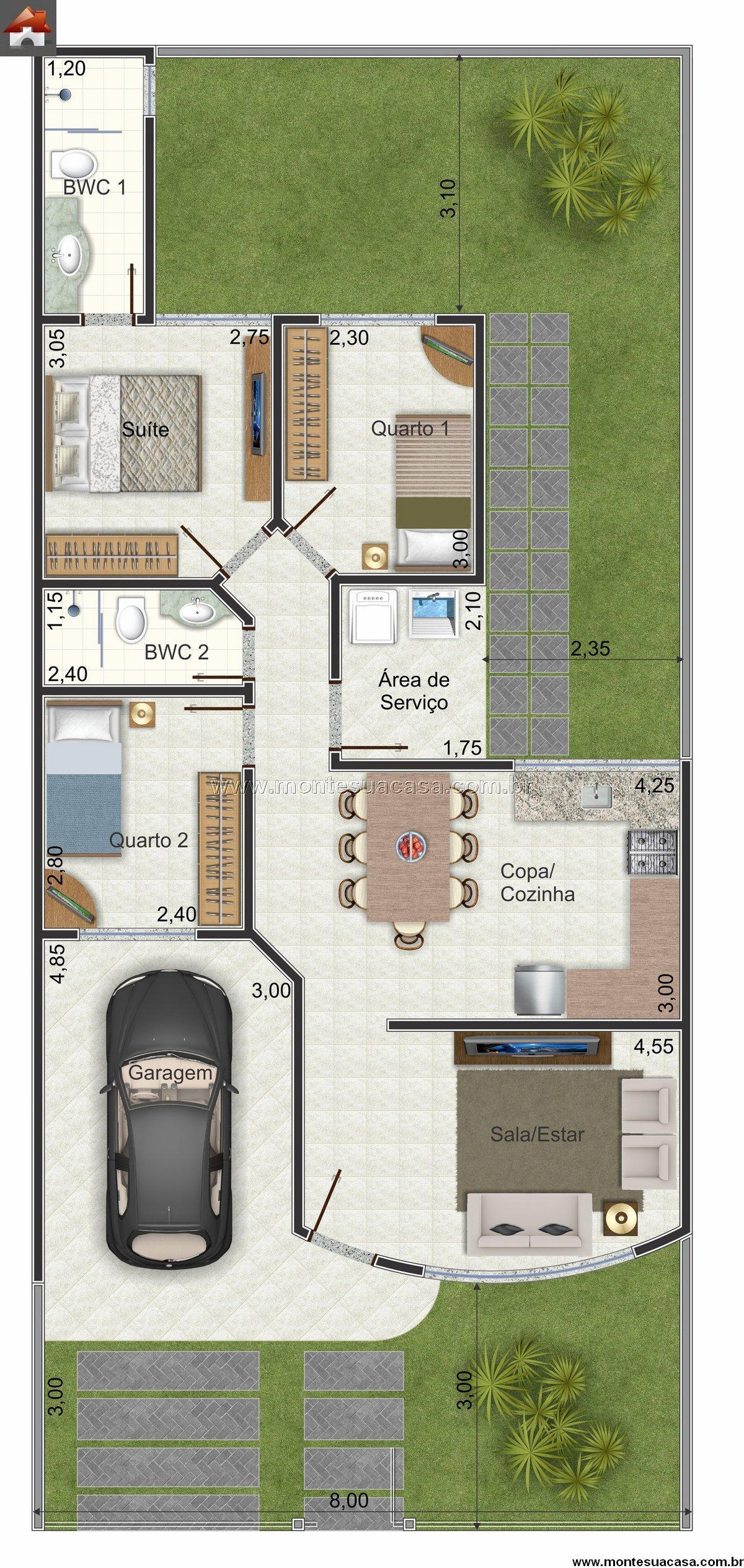 Casa 2 Quartos - 84.88m²
