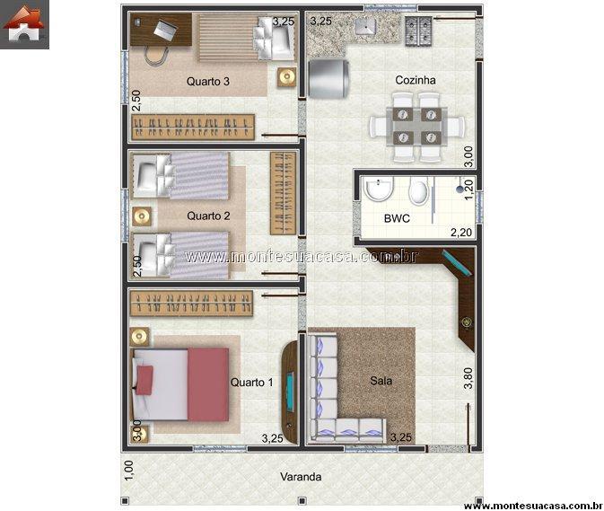 Casa 3 Quartos - 66.72m²