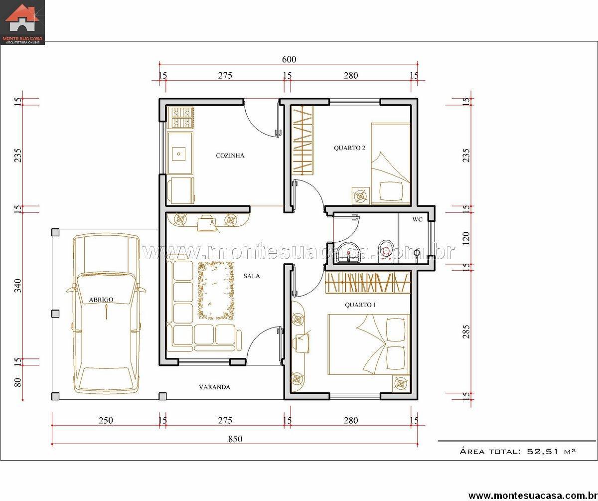 Casa 2 Quartos - 52.51m²