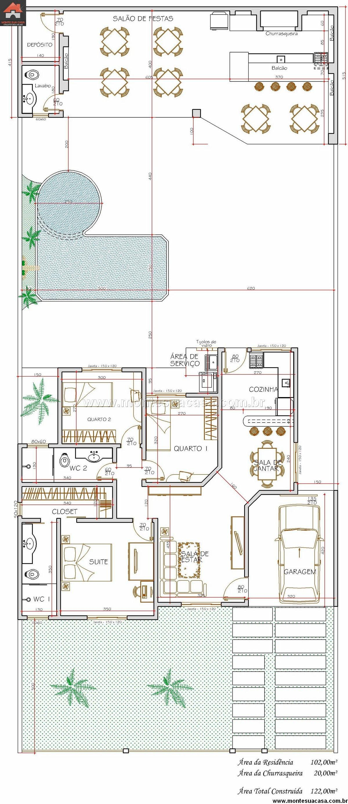 Casa 2 Quartos - 102m²