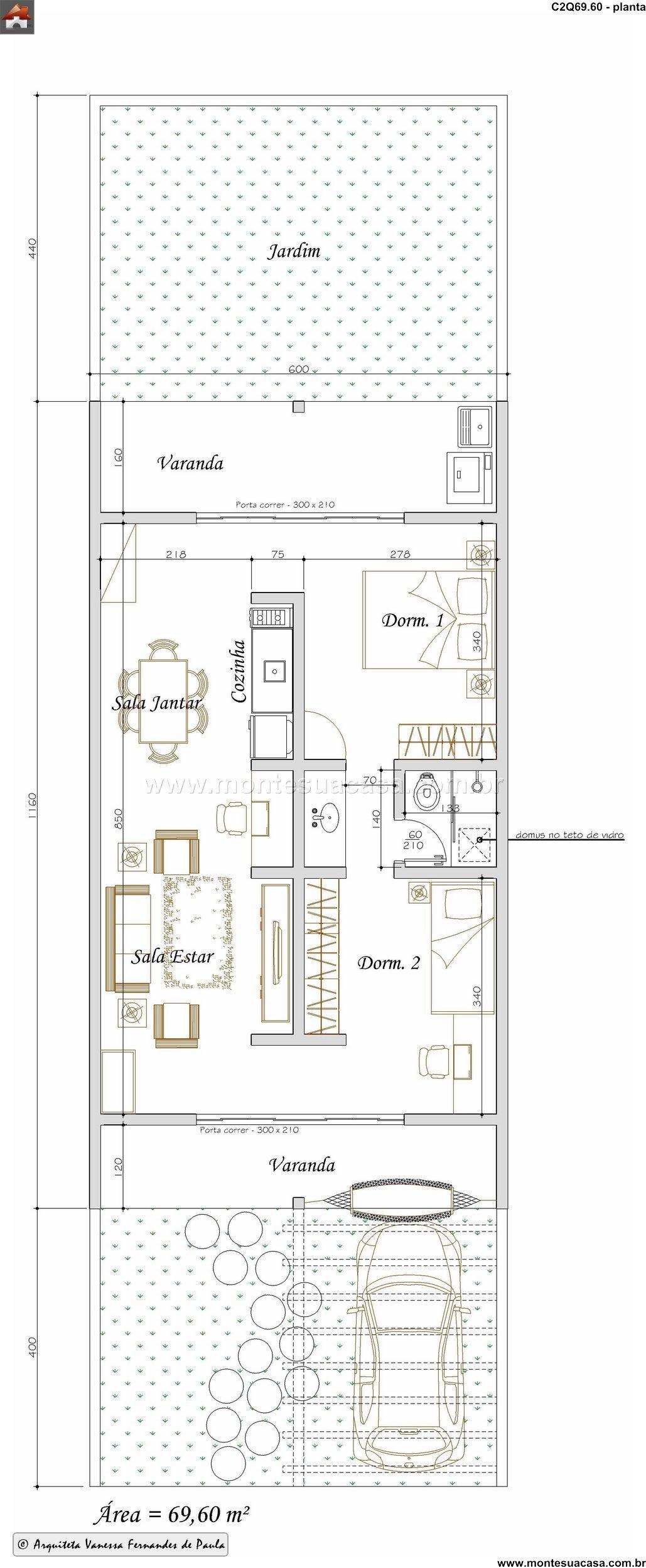 Casa 2 Quartos - 69.6m²