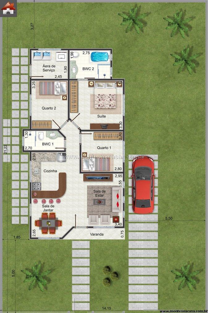 Casa 2 Quartos - 80.33m²